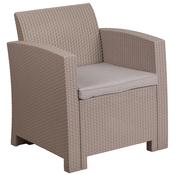Picture of Faux Rattan Chair with All-Weather Cushion