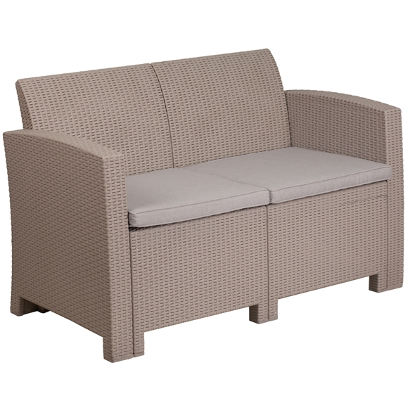 Picture of Faux Rattan Loveseat with All-Weather Cushions